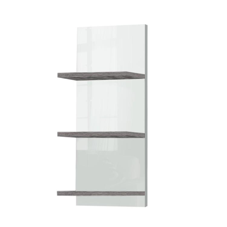 wandregal granby mit 3 ablagen wei esche grau dekor. Black Bedroom Furniture Sets. Home Design Ideas