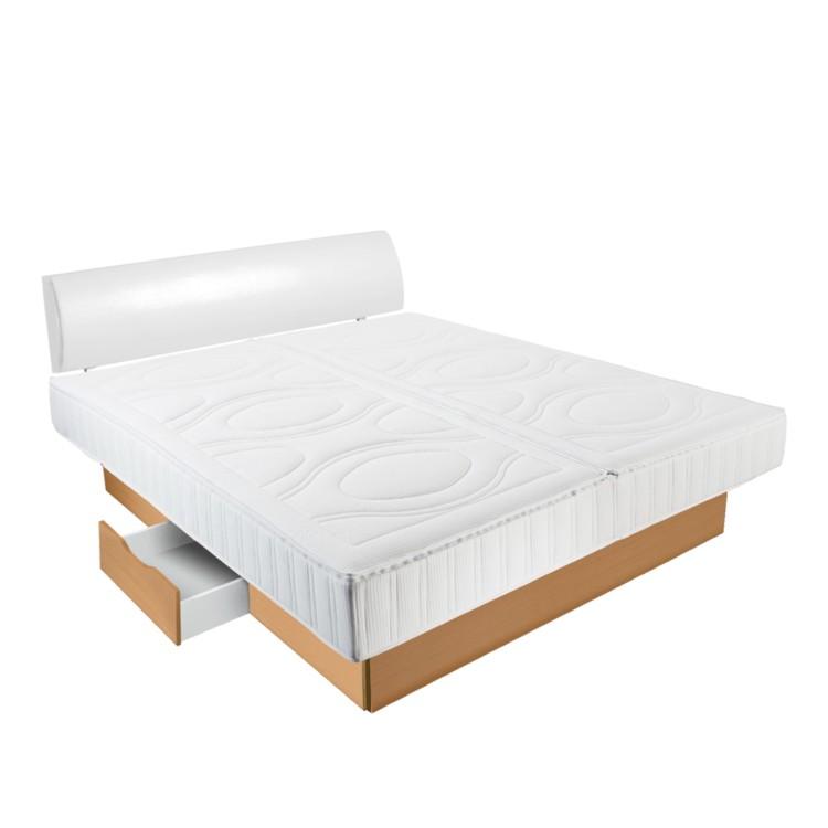 wasserbett basic freistehend inkl polsterkopfteil und schubladenpodest buche kopfteil wei. Black Bedroom Furniture Sets. Home Design Ideas