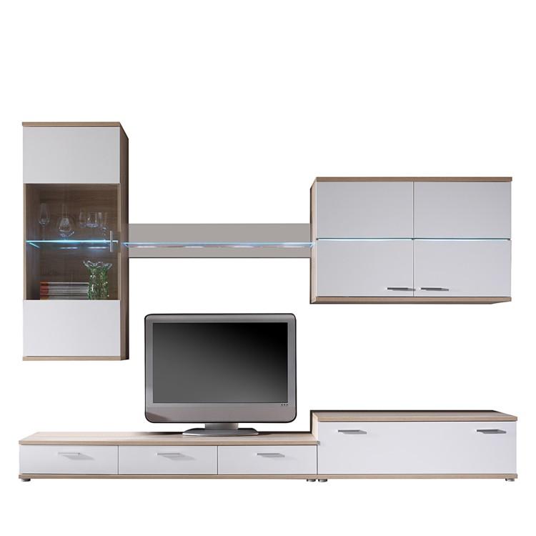 wohnwand eca wei eiche sonoma dekor home24. Black Bedroom Furniture Sets. Home Design Ideas