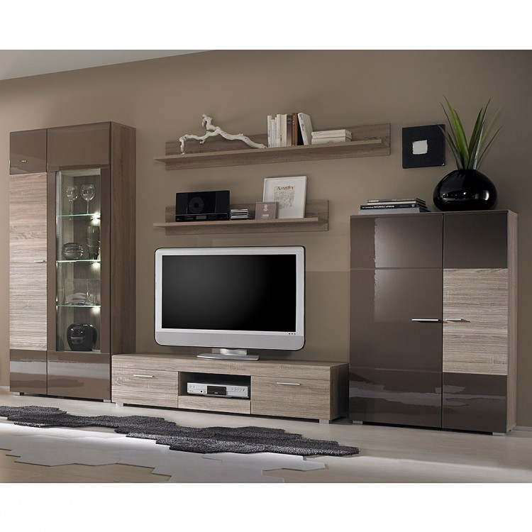 wohnwand forino 5 tlg braun hochglanz home24. Black Bedroom Furniture Sets. Home Design Ideas