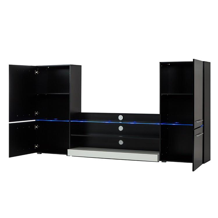 wohnwand modern art in schwarz inkl blauer led. Black Bedroom Furniture Sets. Home Design Ideas