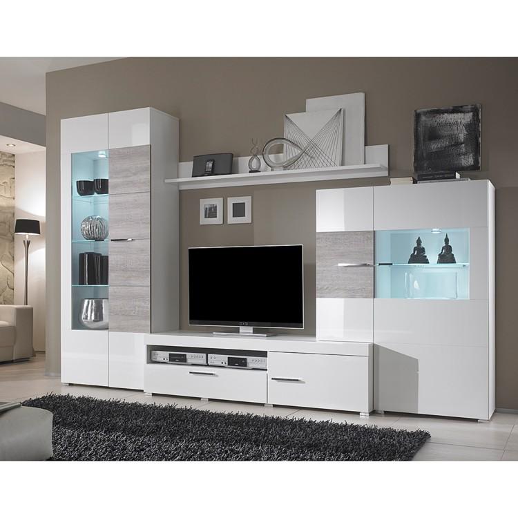 wohnwand monza inkl beleuchtung wei hochglanz home24. Black Bedroom Furniture Sets. Home Design Ideas