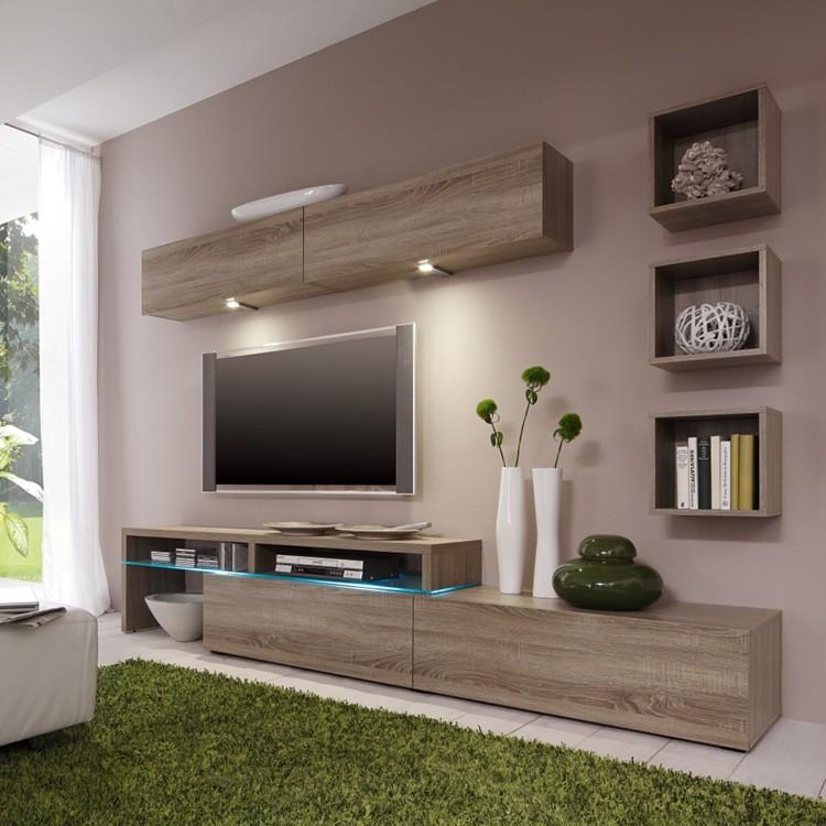 wohnwand colourart 6 teilig eiche sonoma dekor tr ffel home24. Black Bedroom Furniture Sets. Home Design Ideas