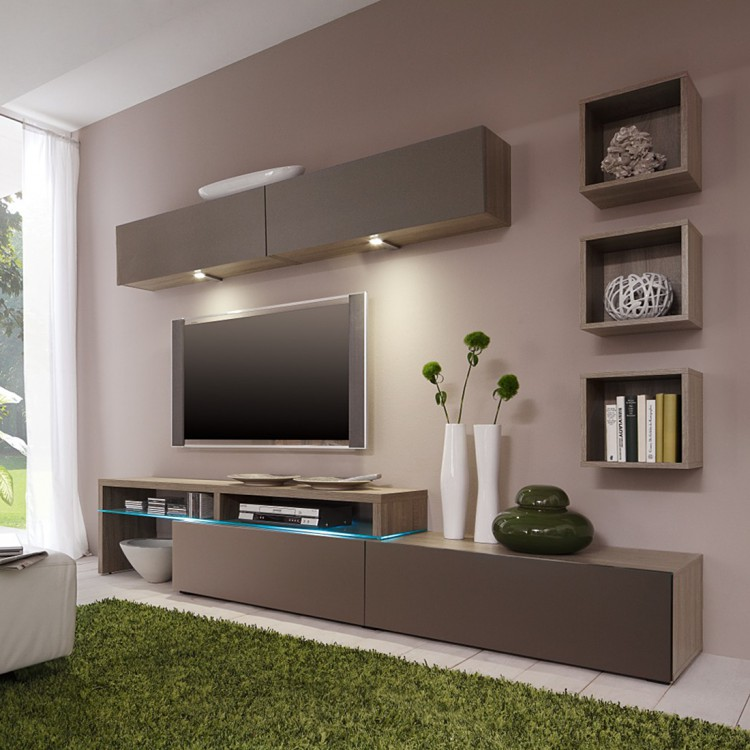wohnwand colourart 6 teilig eiche dekor online kaufen. Black Bedroom Furniture Sets. Home Design Ideas
