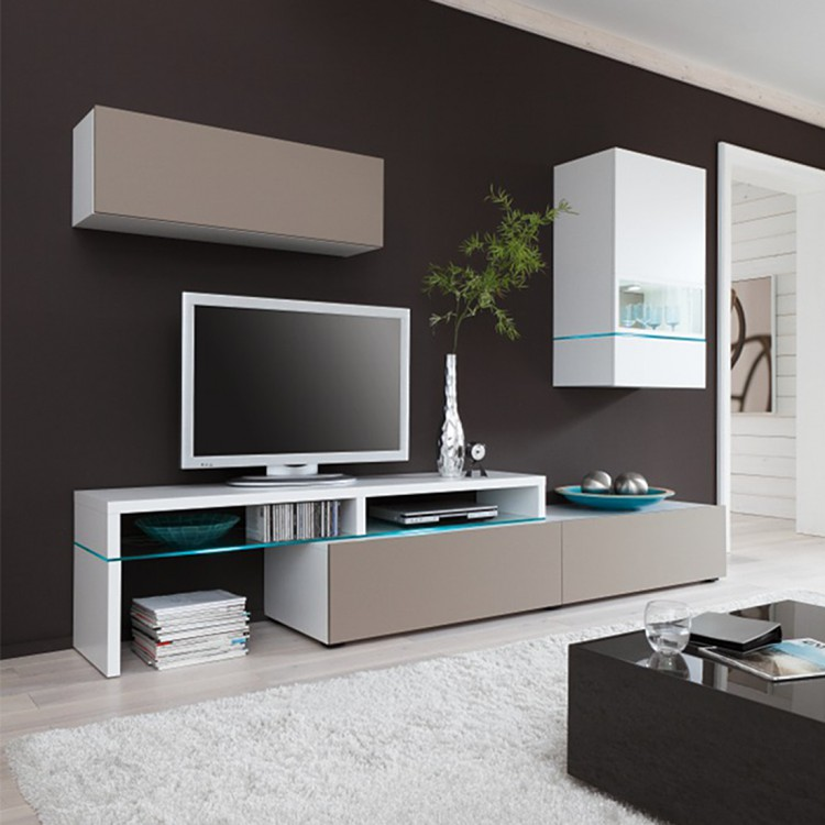 wohnwand colourart 3 teilig wei congo home24. Black Bedroom Furniture Sets. Home Design Ideas