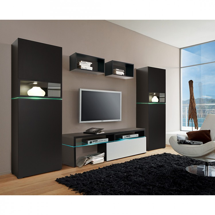 wohnwand colourart 5 teilig schwarz wei home24. Black Bedroom Furniture Sets. Home Design Ideas