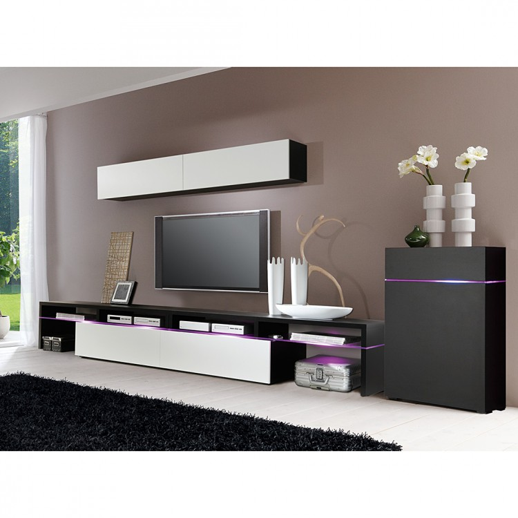 wohnwand colourart 4 teilig wei schwarz kaufen home24. Black Bedroom Furniture Sets. Home Design Ideas