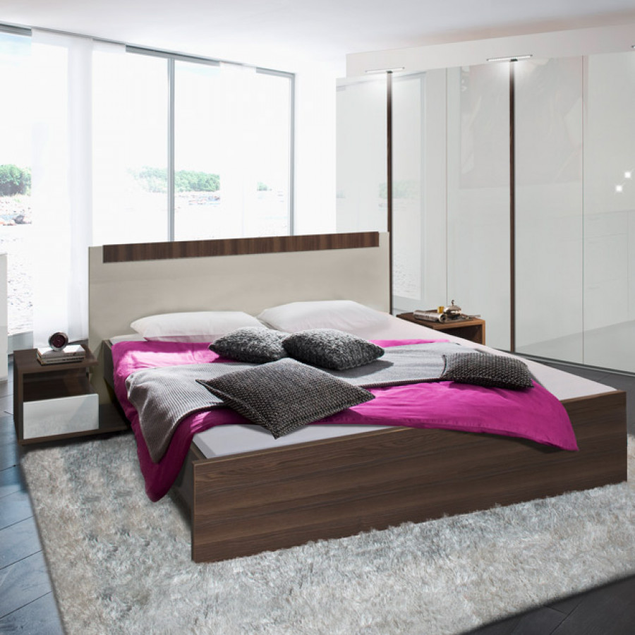 basic bett esche dunkel mit kopfteil steingrau home24. Black Bedroom Furniture Sets. Home Design Ideas