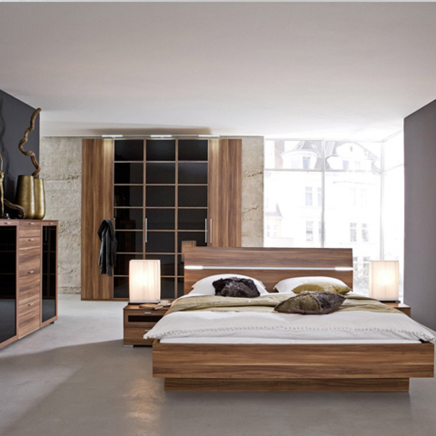 bed choice hoofdeinde optisch zwevend notenhout. Black Bedroom Furniture Sets. Home Design Ideas