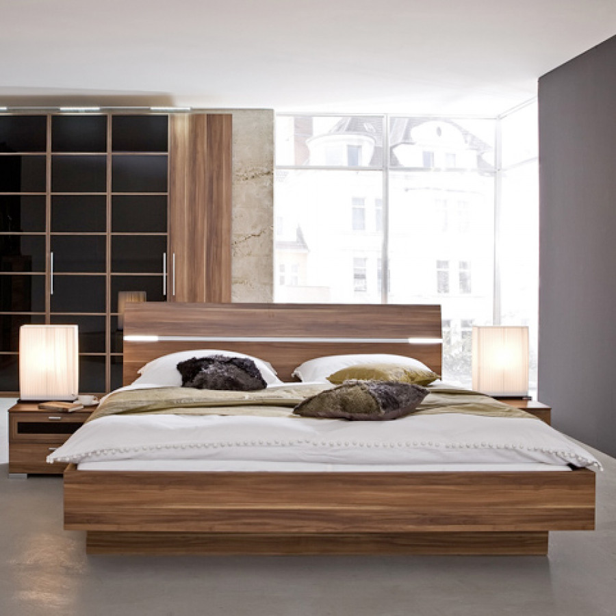 bed choice hoofdeinde optisch zwevend notenhout. Black Bedroom Furniture Sets. Home Design Ideas