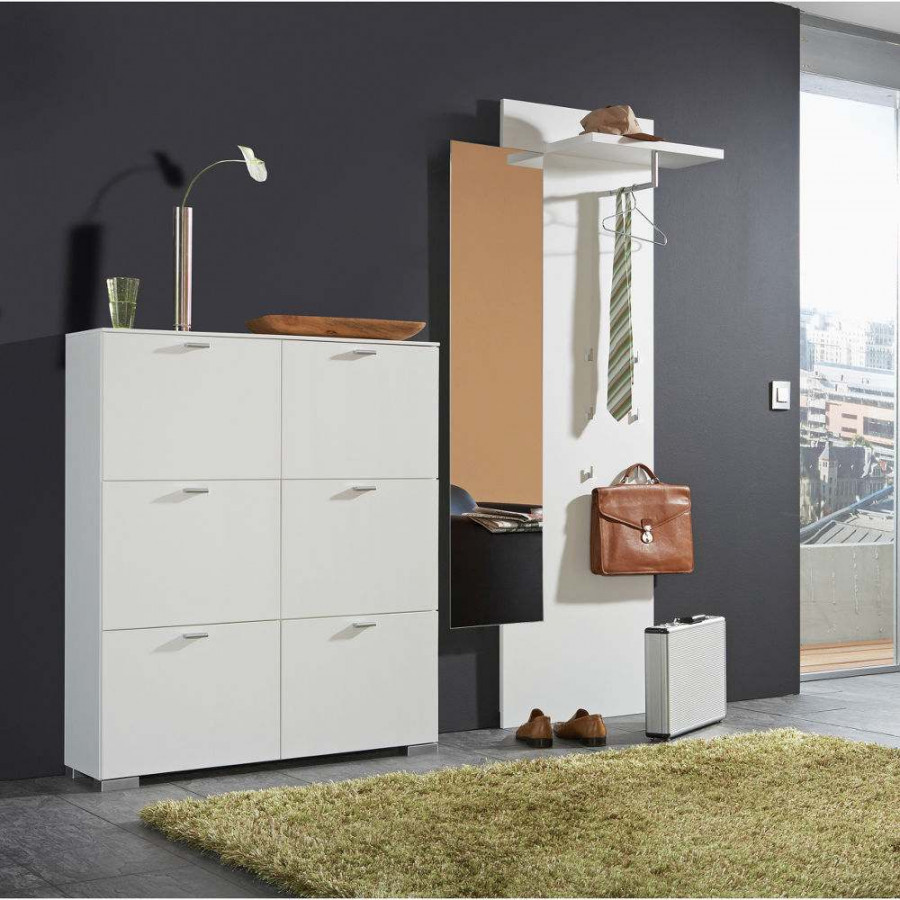 ensemble de vestibule miroir blanc. Black Bedroom Furniture Sets. Home Design Ideas