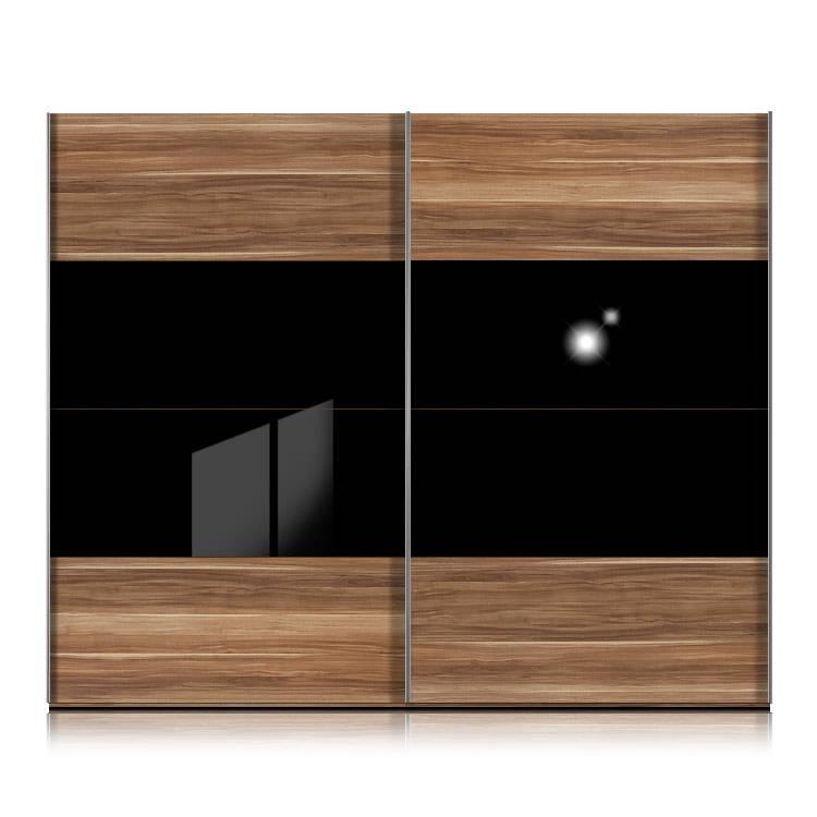 Armoire portes coulissantes kick noyer verre noir - Armoire coulissante noir ...
