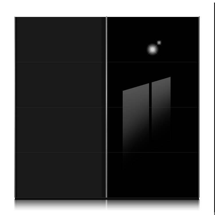 Armoire portes coulissantes kick noir 4 verres noirs - Armoire coulissante noir ...