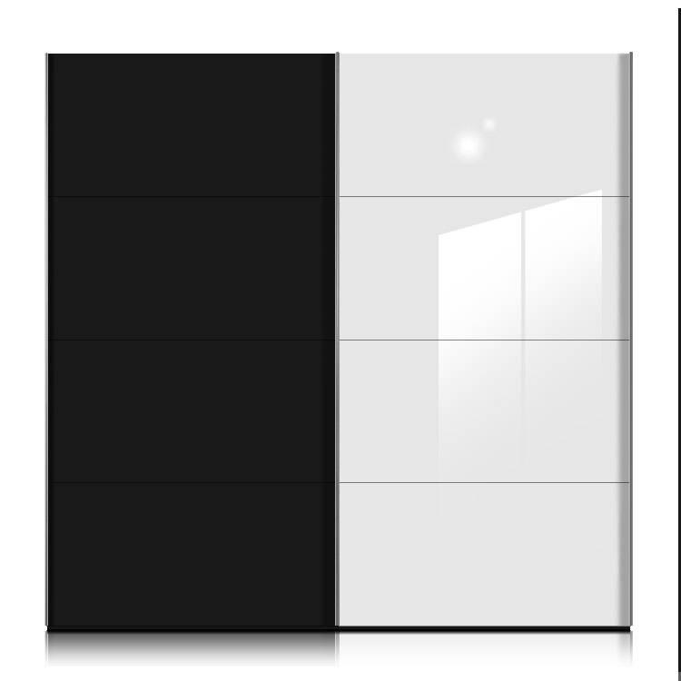 Armoire portes coulissantes kick noir verre blanc - Armoire coulissante noir ...