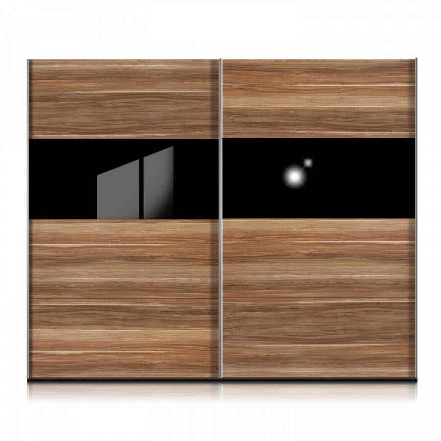 schwebet renschrank style nussbaum glas schwarz home24. Black Bedroom Furniture Sets. Home Design Ideas