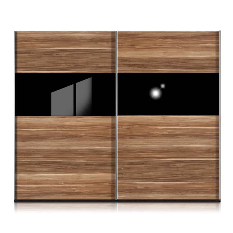 Armoire portes coulissantes style noyer verre noir - Armoire coulissante noir ...