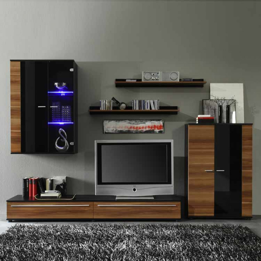 wohnwand santa can nussbaum home24. Black Bedroom Furniture Sets. Home Design Ideas
