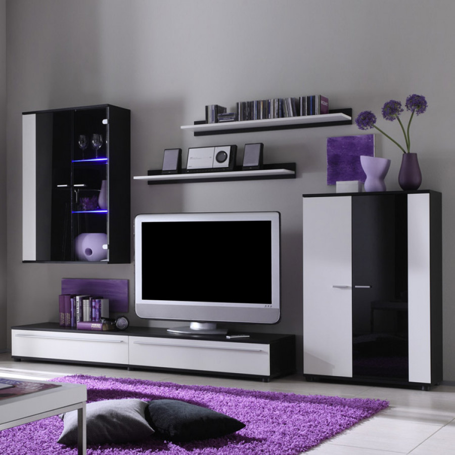 wohnwand santa can 5teilig schwarz wei home24. Black Bedroom Furniture Sets. Home Design Ideas