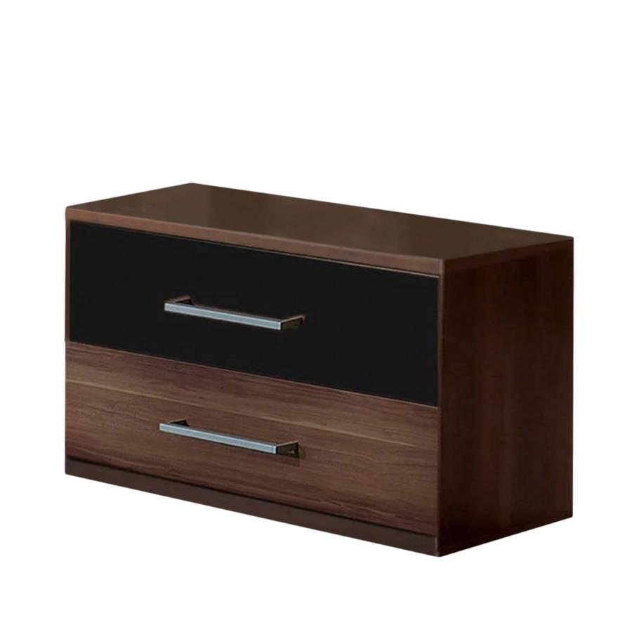 nachtschrank nora nussbaum dekor schwarz home24. Black Bedroom Furniture Sets. Home Design Ideas