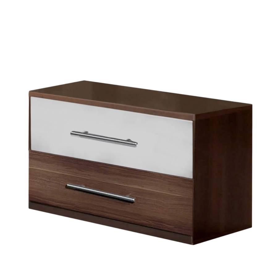 nachtschrank nora nussbaum dekor wei. Black Bedroom Furniture Sets. Home Design Ideas