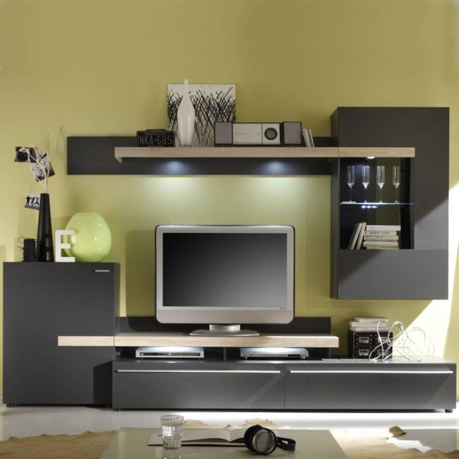 wohnwand cello 5 teilig anthrazit eiche sonoma dekor home24. Black Bedroom Furniture Sets. Home Design Ideas