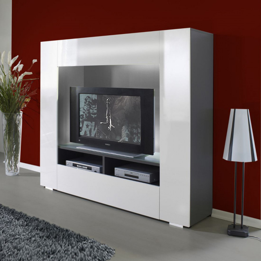 medienwand port tv graphit weiss home24. Black Bedroom Furniture Sets. Home Design Ideas