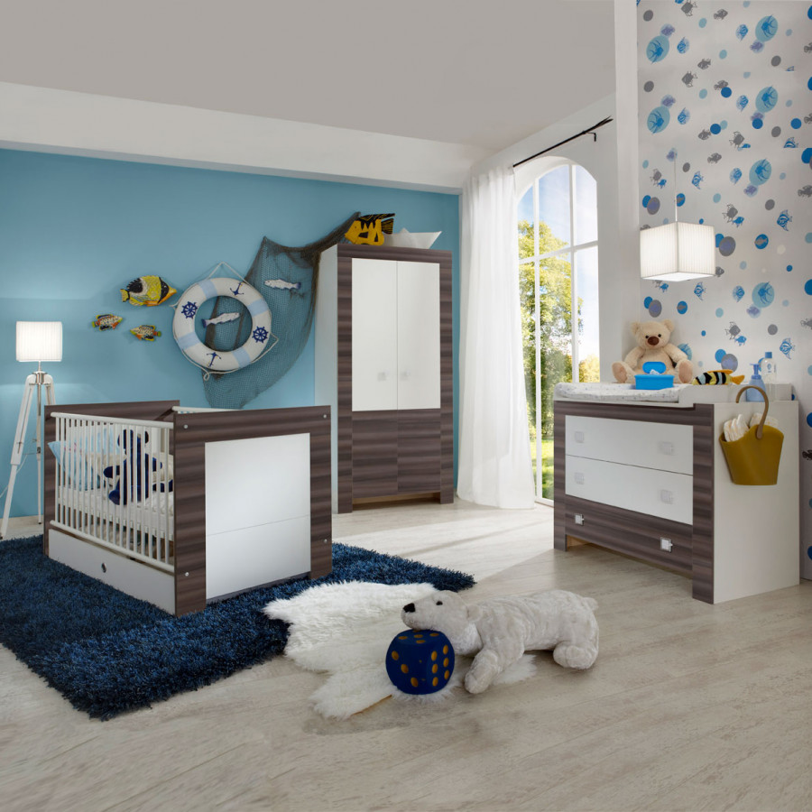 sparset curly 3 teilig babybett inklusive bettkasten wickelkommode kleiderschrank home24. Black Bedroom Furniture Sets. Home Design Ideas