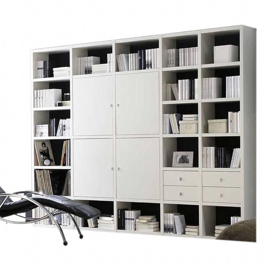 mur biblioth que blanc. Black Bedroom Furniture Sets. Home Design Ideas
