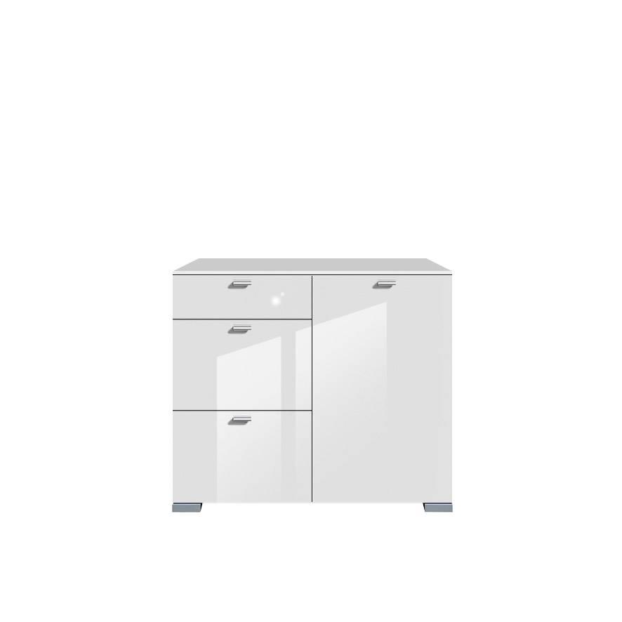 Commode gallery brillant 1 porte 3 tiroirs blanc - Commode blanc brillant ...