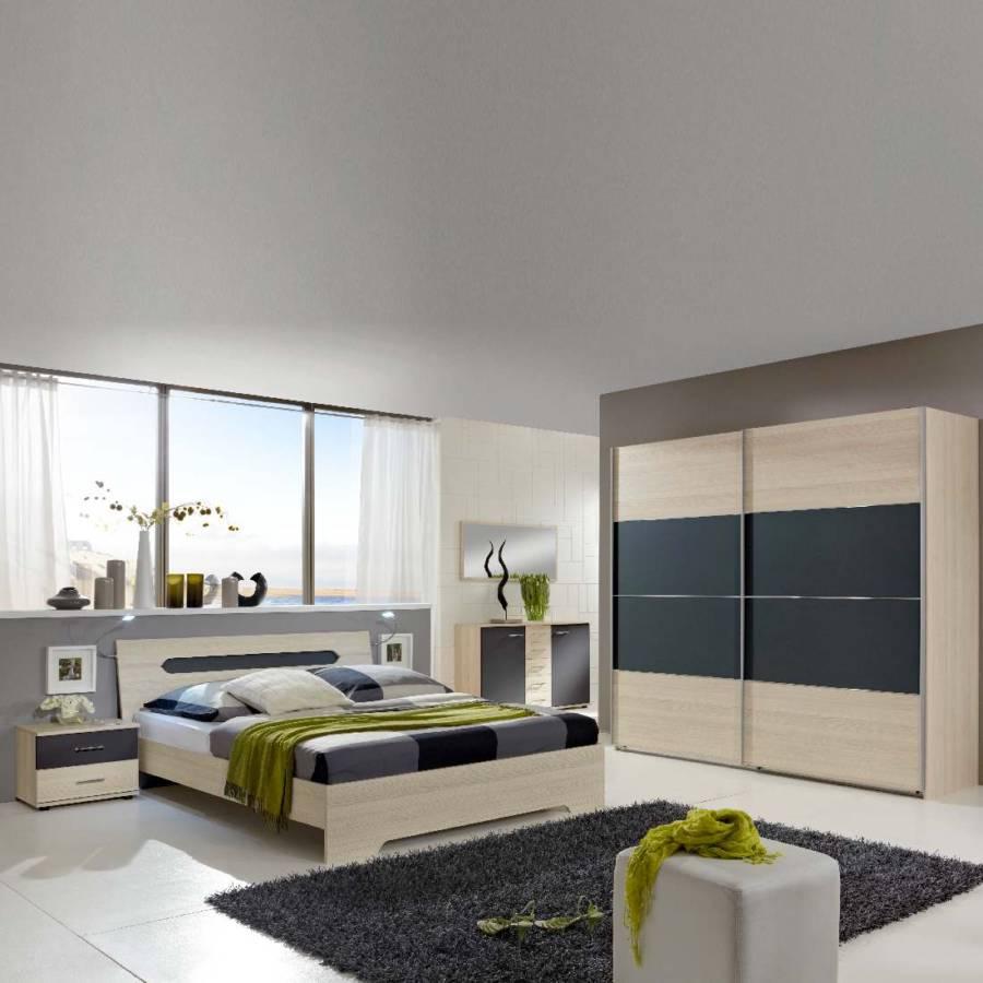 schlafzimmerkombination bologna 4 teilig strukturesche dekor anthrazit home24. Black Bedroom Furniture Sets. Home Design Ideas