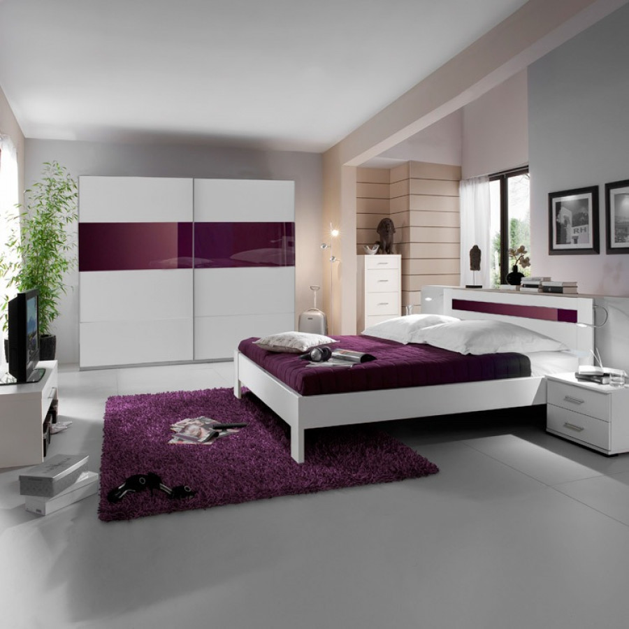 schlafzimmerkombination cary 4 teilig alpinweiss glas brombeer home24. Black Bedroom Furniture Sets. Home Design Ideas