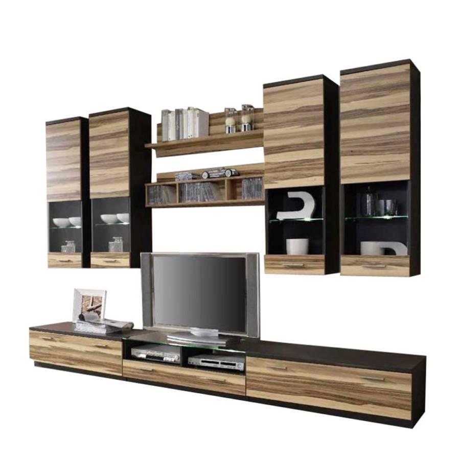 wohnwand ibiza korpus terra front baltimore nussbaum home24. Black Bedroom Furniture Sets. Home Design Ideas