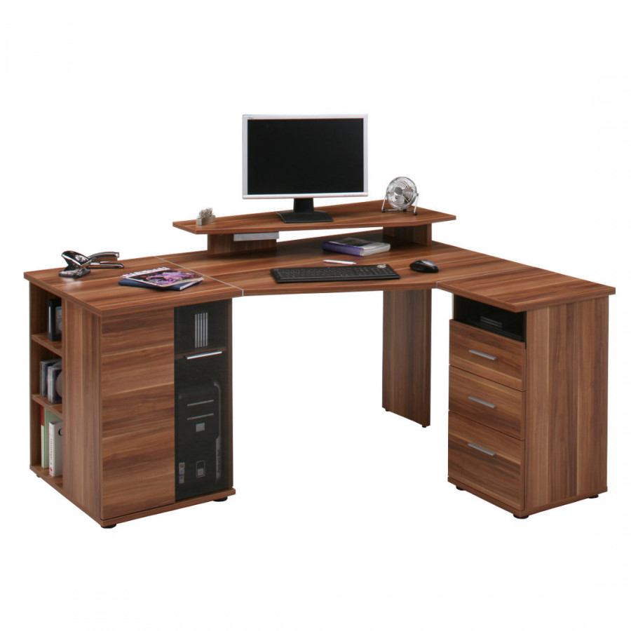 Bureau d 39 angle pour ordinateur g vle imitation noyer montage variable - Bureau d angle informatique ...