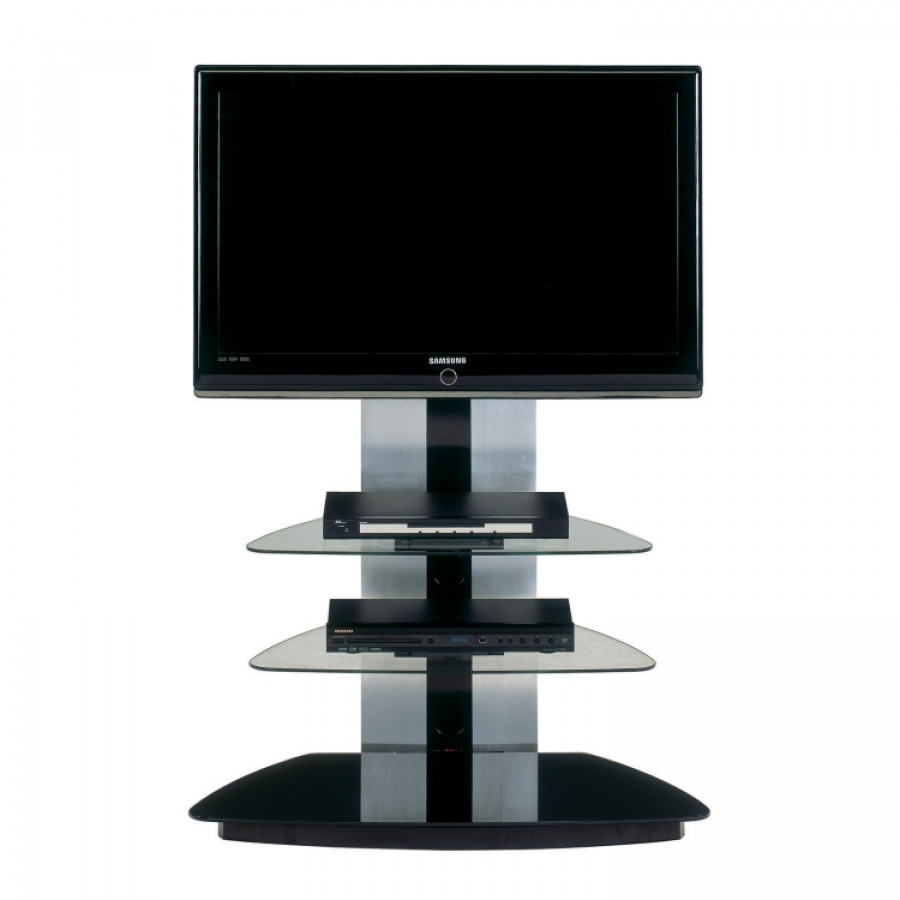 tv rack universalhalterung cu mr 90 lcd aluminium glas schwarz klarglas. Black Bedroom Furniture Sets. Home Design Ideas