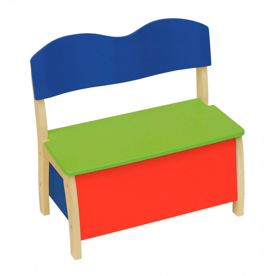 banc coffre pour enfant jaune bleu rouge couleur bois. Black Bedroom Furniture Sets. Home Design Ideas