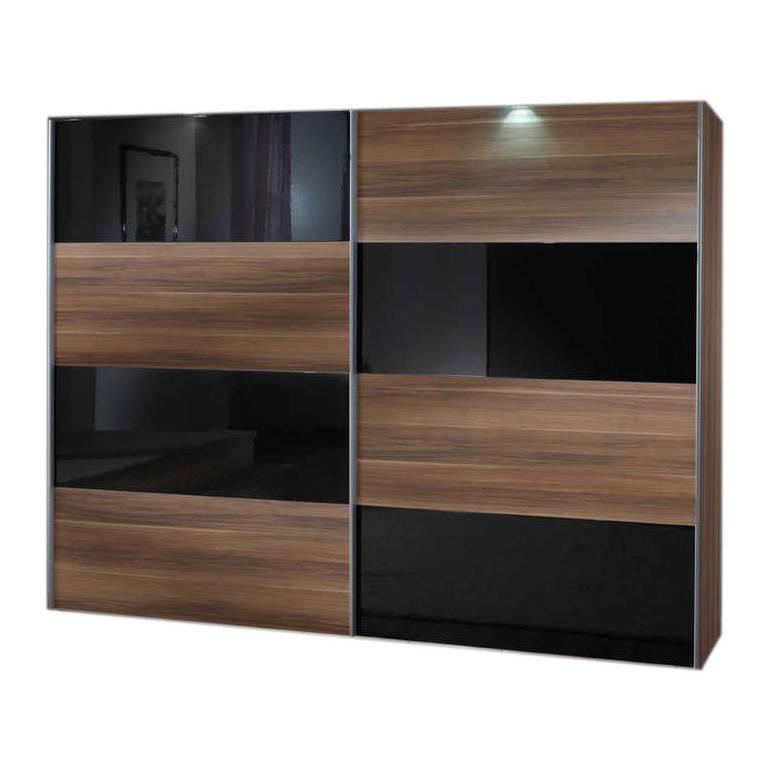 schwebet renschrank kingston c franz sisch nussbaum dekor glas schwarz. Black Bedroom Furniture Sets. Home Design Ideas
