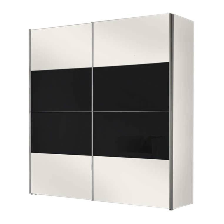 Armoire portes coulissantes laval blanc polaire verre noir - Armoire coulissante noir ...