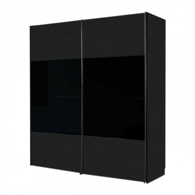 Armoire portes coulissantes laval noir verre noir - Armoire 150 cm portes coulissantes ...