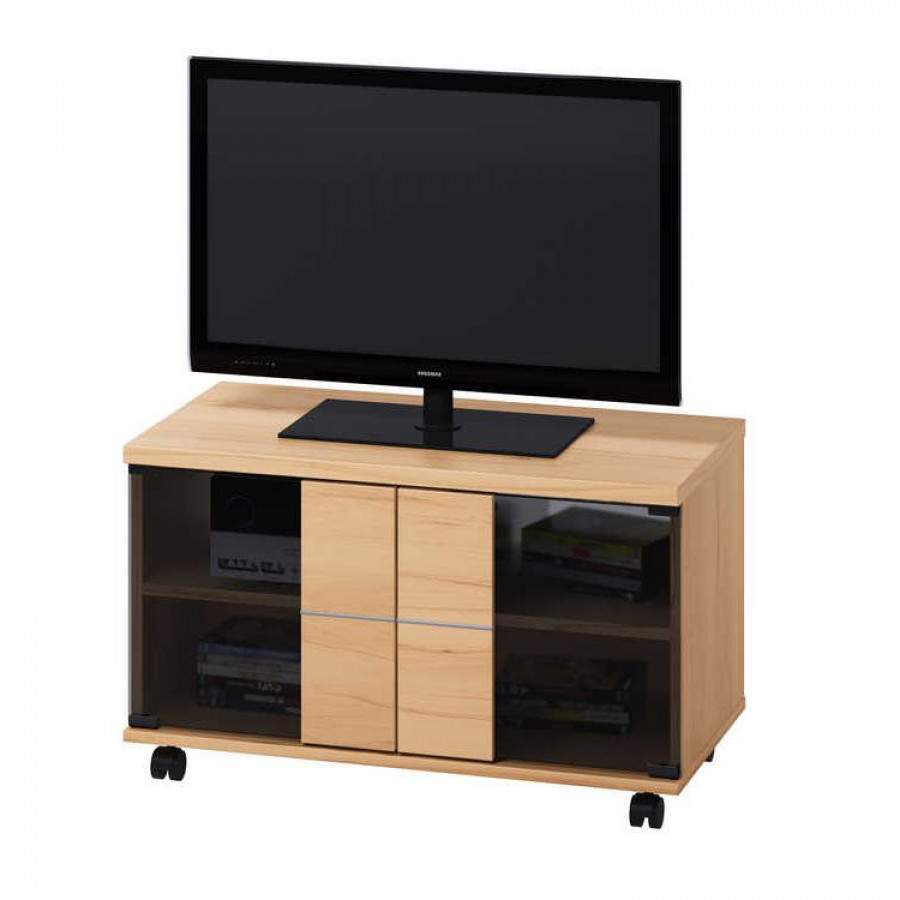 meuble bas tv sur roulettes leonard imitation duramen de h tre. Black Bedroom Furniture Sets. Home Design Ideas