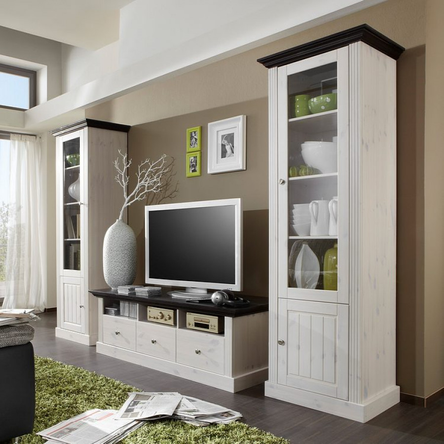 wohnwand lyngby 3 teilig kiefer massiv home24. Black Bedroom Furniture Sets. Home Design Ideas