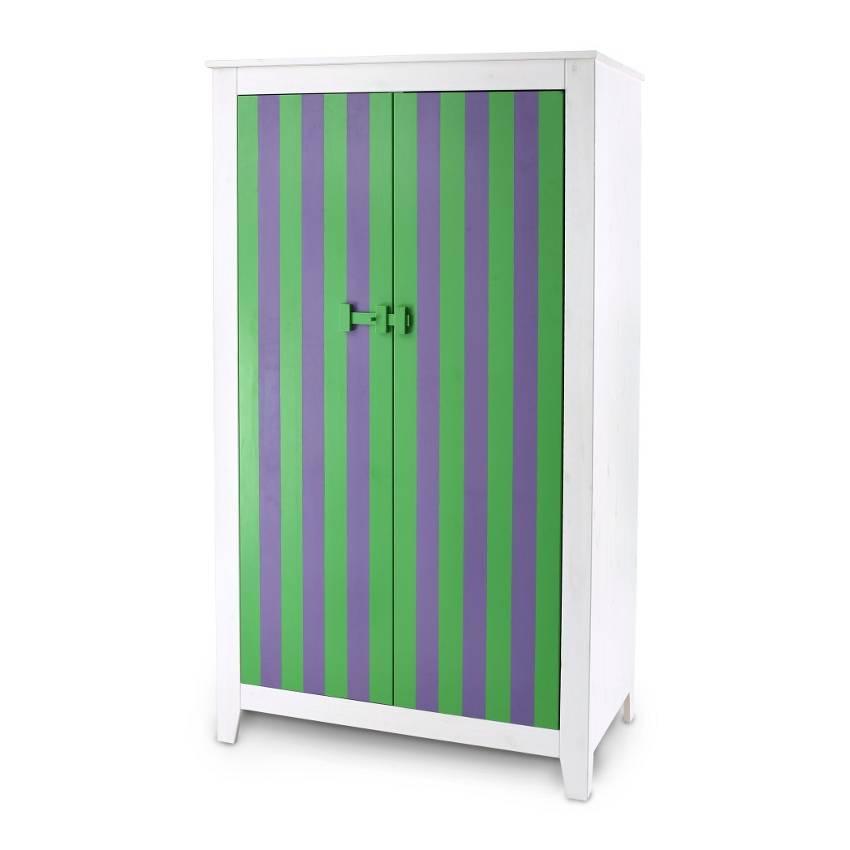 kleiderschrank saraburi gr n lila gestreift home24. Black Bedroom Furniture Sets. Home Design Ideas