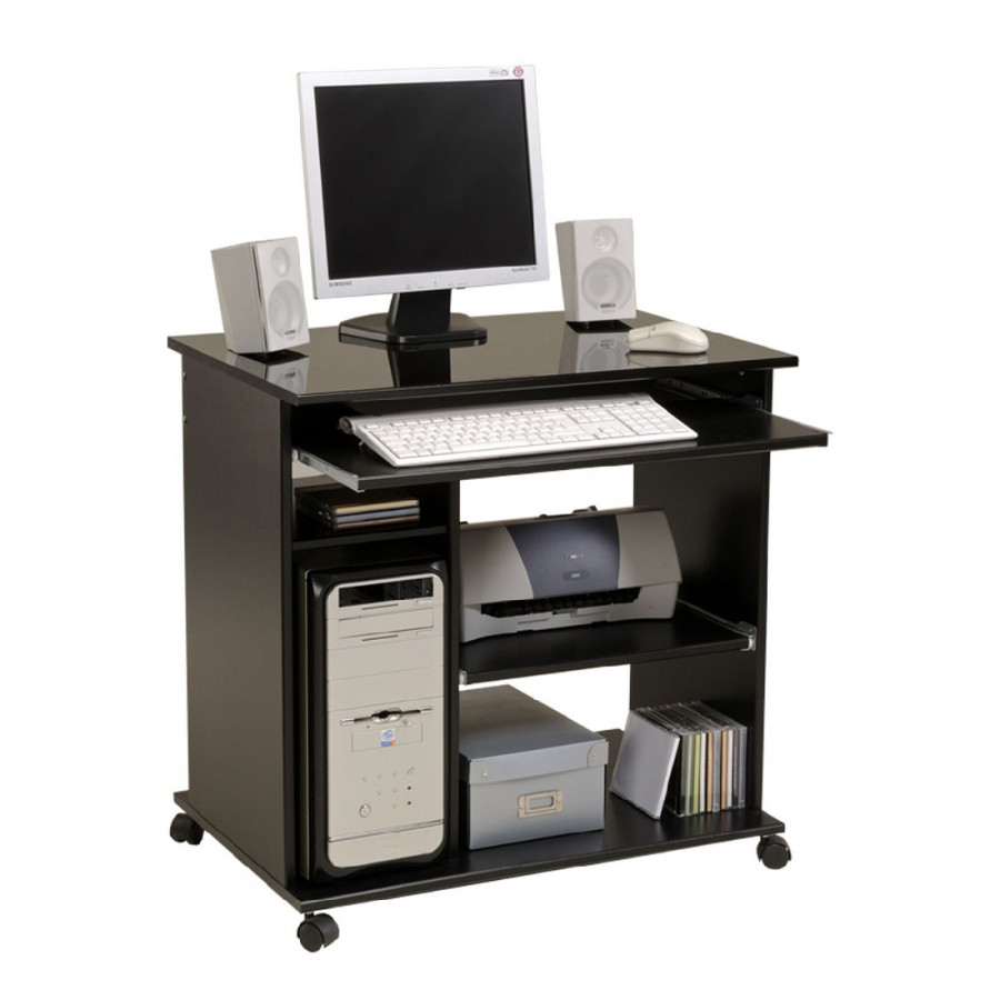 Bureau pour ordinateur peps noir brillant - Bureau ordinateur noir ...