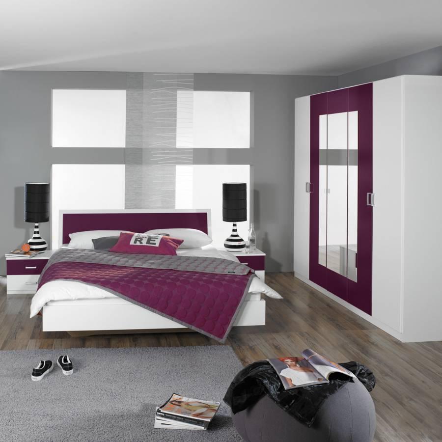 Schlafzimmer set trevi 4 teilig bett schrank 2 nachtkommoden home24 - Schlafzimmer brombeer ...