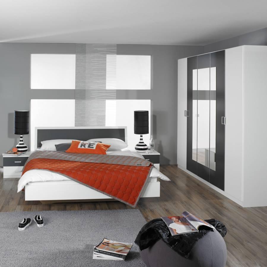 chambre trevi 4 l ments blanc noir bon prix en ligne. Black Bedroom Furniture Sets. Home Design Ideas