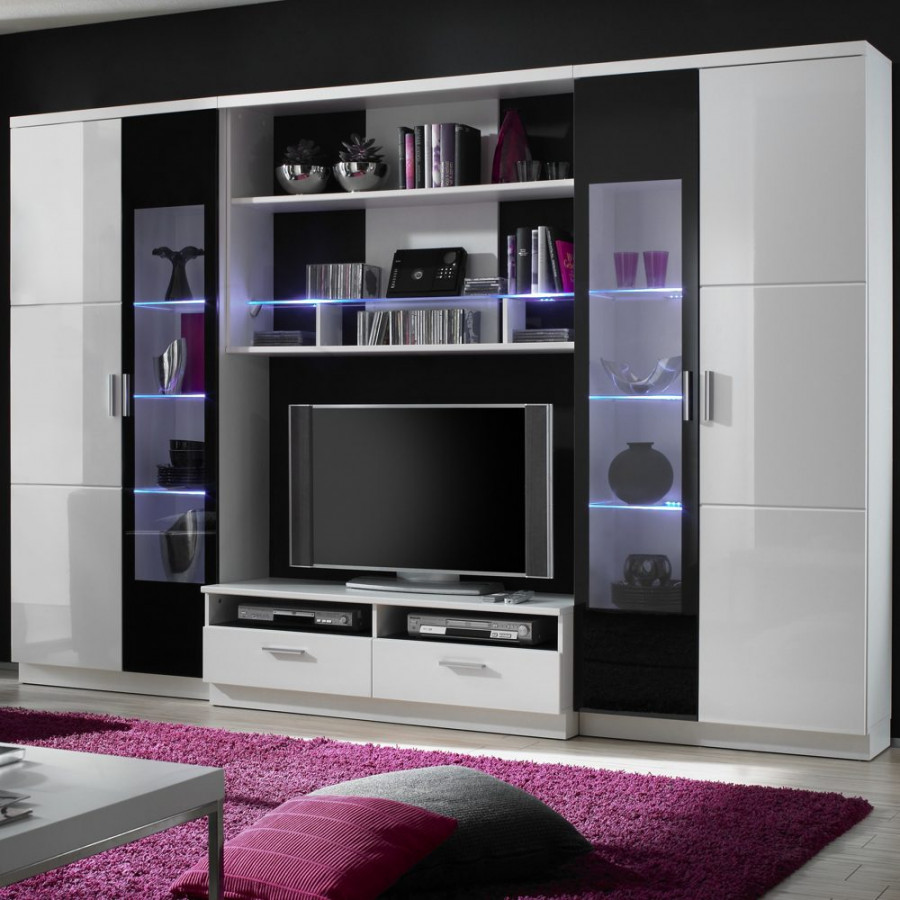 wohnwand sienna 4 teilig wei schwarz hochglanz home24. Black Bedroom Furniture Sets. Home Design Ideas