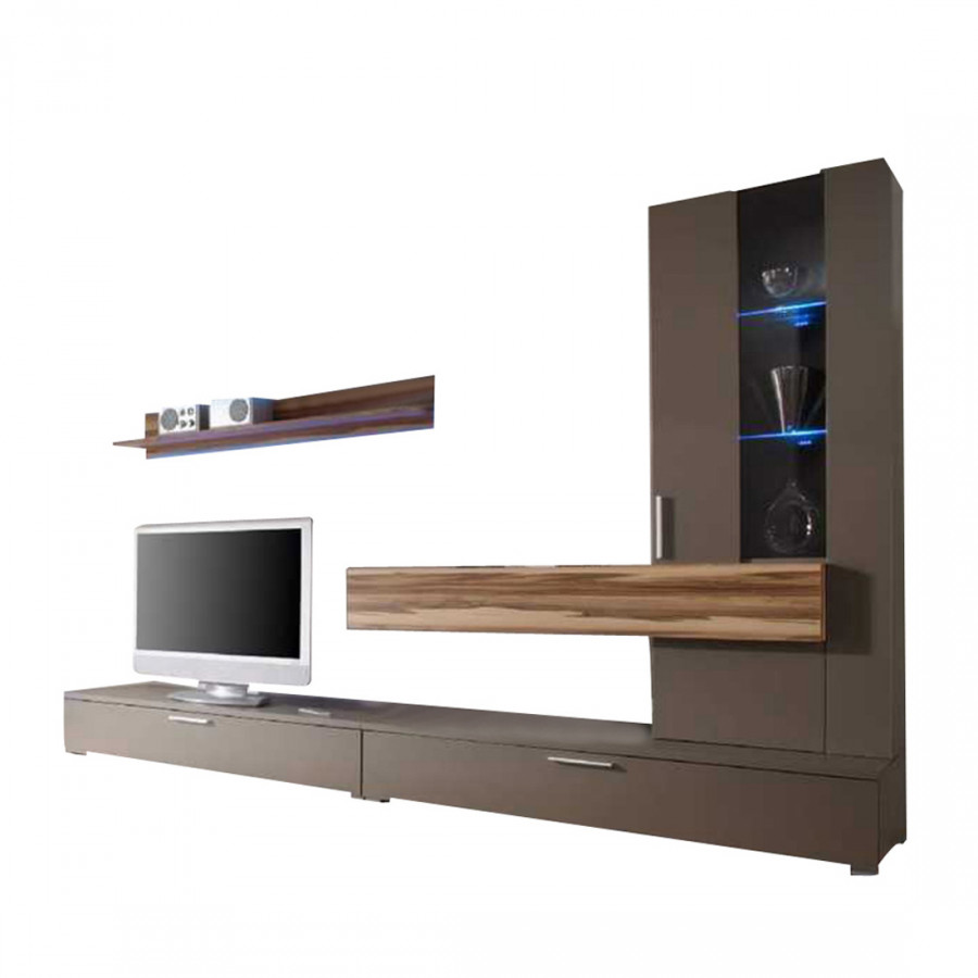 wohnwand style absetzung baltimore walnuss dekor. Black Bedroom Furniture Sets. Home Design Ideas