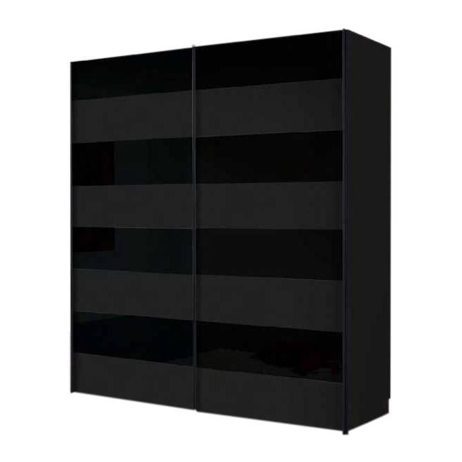 Armoire portes coulissantes texas verre noir mat et brillant - Armoire coulissante noir ...