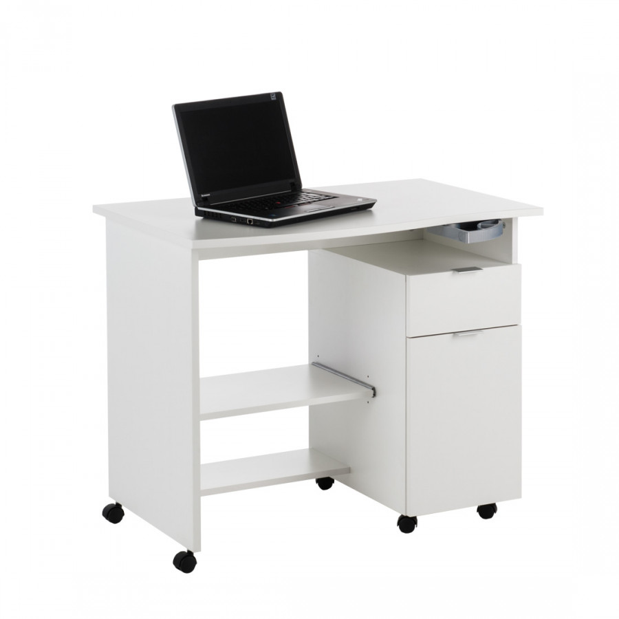 bureau d 39 ordinateur tony avec tablette tiroir et porte en blanc. Black Bedroom Furniture Sets. Home Design Ideas