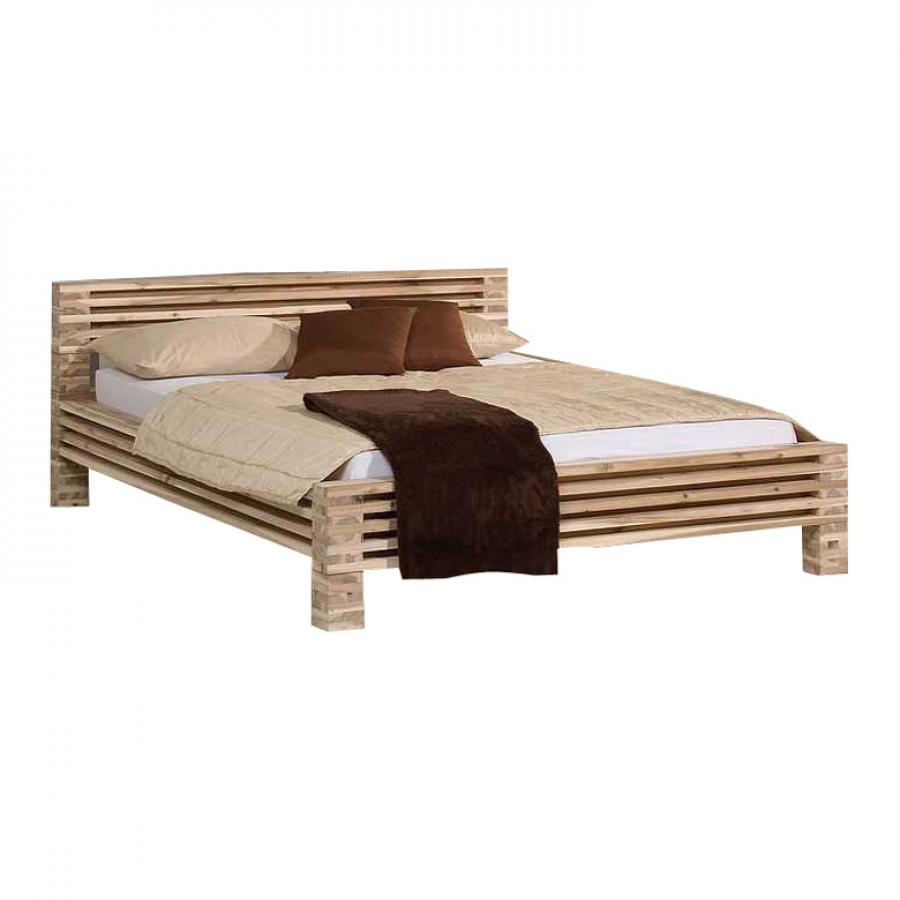 Massief houten bed tulua wit geglazuurd massief acaciahout - Massief houten platform bed ...