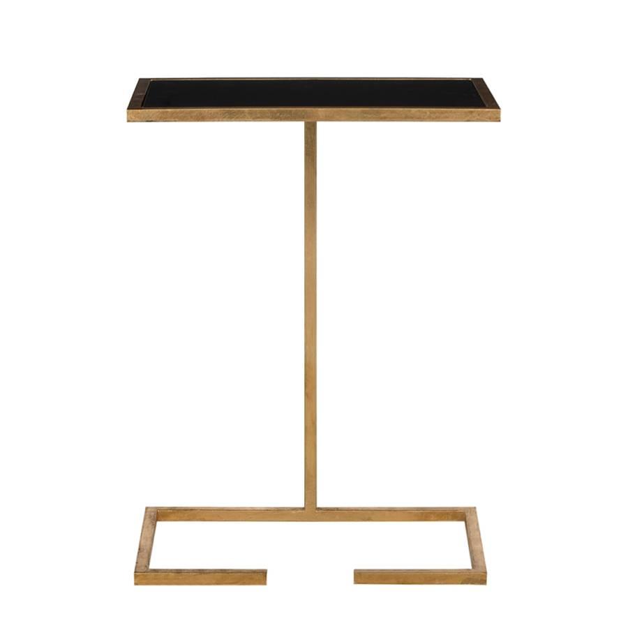 Beistelltisch Neil - Eisen Gold/Glas Schwarz